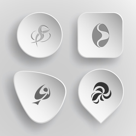 incurved: 4 images of unique abstract forms. White concave buttons on gray background. Vector icons set. Illustration
