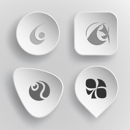 concave: 4 images of unique abstract forms. White concave buttons on gray background. Vector icons set. Illustration