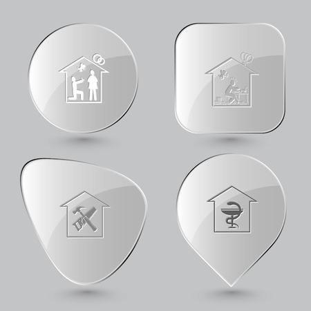 affiance: home affiance, home inspiration, workshop, pharmacy. Home set. Glass buttons on gray background. Vector icons.