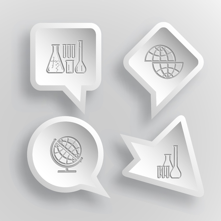 globe  the terrestrial ball: 4 images: chemical test tubes, shift globe. Science set. Paper stickers. Vector illustration icons. Illustration