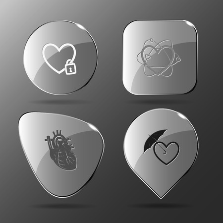 sheltering: 4 images: closed heart, atomic heart, protection love. Heart shape set. Glass buttons. Vector illustration icon.