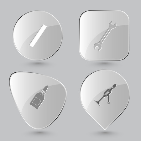 tube wrench: ruler, spanner, glue bottle, hand drill. Angularly set. Glass buttons on gray background. Vector icons.
