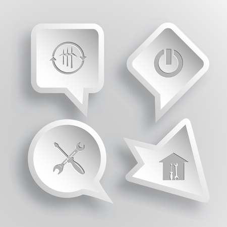 closer: 4 images: wind turbine, switch element, screwdriver and spanner, workshop. Tehnology set. Paper stickers. Vector illustration icons.