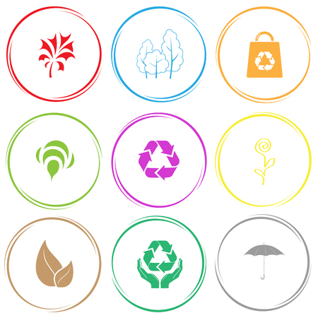 abstract plant, trees, bag, bee, recycle symbol, flower, leaf, protection nature, umbrella. Nature set. Internet button. Vector icons. Illustration