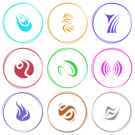 uniqueness: 9 images of unique abstract forms. Internet templates. Vector icons set.