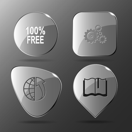array: 4 images: 100% free, gears, globe and array up, book. Business set. Glass buttons. Vector illustration icon. Illustration
