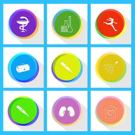spermatozoon: jumping girl, chemical test tubes, pharma symbol, spermatozoon, thermometer, medical suitcase, orphanage, kidneys, thermometer. Medical set. Internet template. Vector icons.