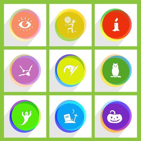 candle, owl, pumpkin, ethnic little man as shaman, astrologer's hat, rip, eye, bats, ghost. Mystic signs set. Internet template. Vector icons. Vektorové ilustrace
