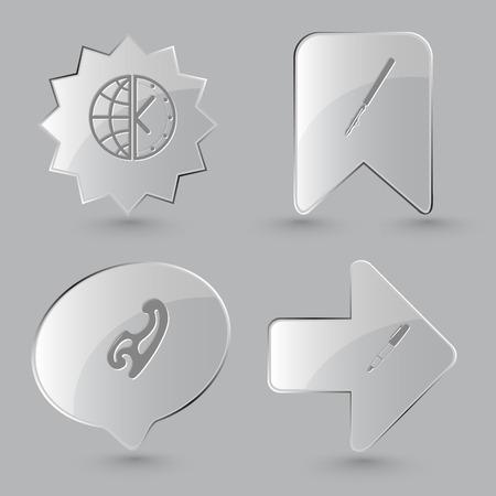 globe terrestre dessin: 4 images: globe et horloge, stylo au pouvoir, la courbe française, stylo encre et crayon. ensemble de l'éducation. boutons de verre sur fond gris. icônes vectorielles.