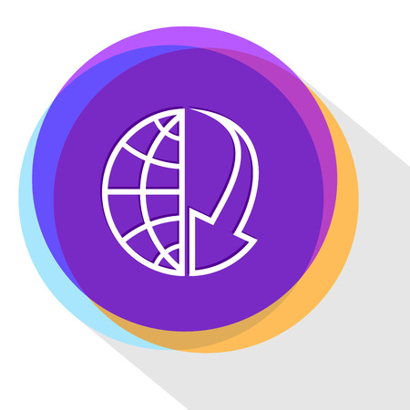 array: globe and array down. Internet template. Vector icon.
