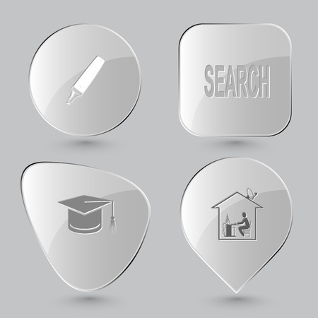 felt: felt pen, search, graduation cap, home work. Education set. Glass buttons on gray background. Vector icons.