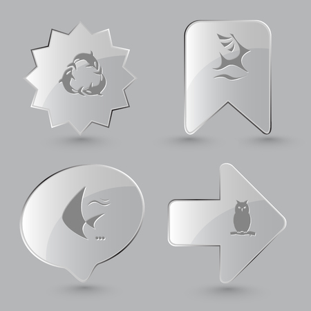 killer waves: 4 images: killer whale as recycling symbol, deer, fish, owl. Animal set. Glass buttons on gray background. Vector icons.