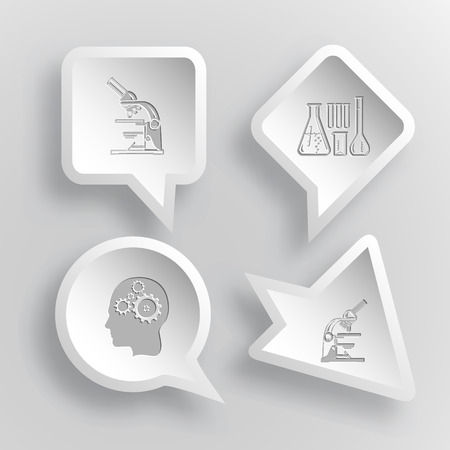 tehnology: 4 images: lab microscope, chemical test tubes, human brain. Tehnology set. Paper stickers. Vector illustration icons.