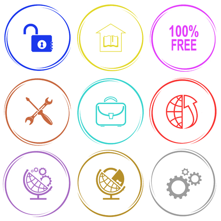 lock up: opened lock, library, 100% free, screwdriver and spanner, briefcase, globe and array up, globe and gears, globe and lock. Business set. Internet button. Vector icons. Illustration
