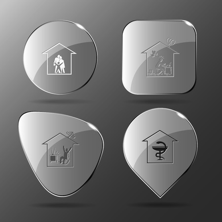 watching tv: 4 images: family, home inspiration, home watching TV, pharmacy. Home set. Glass buttons. Vector illustration icon.