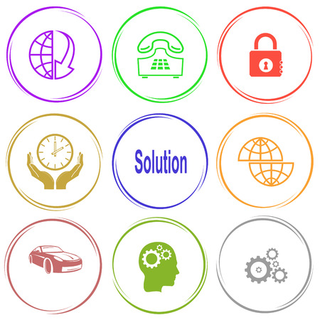 car lock: globe and array down, push-button telephone, closed lock, clock in hands, solution, shift globe, car, human brain, gears. Business set. Internet button. Vector icons.
