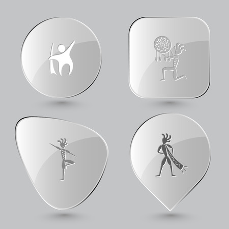 yogi: abstract little man, ethnic little man as shaman, ethnic little man as yogi, ethnic little man with trumpet. Ethnic set. Glass buttons on gray background. Vector icons.