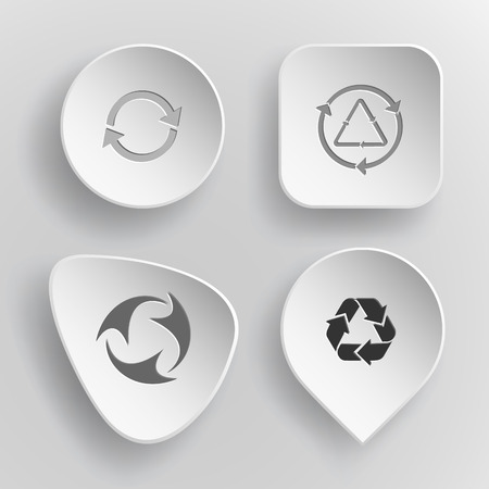 concave: 4 images: recycle symbol, recycle symbol. Recycle symbols set. White concave buttons on gray background. Vector icons. Illustration