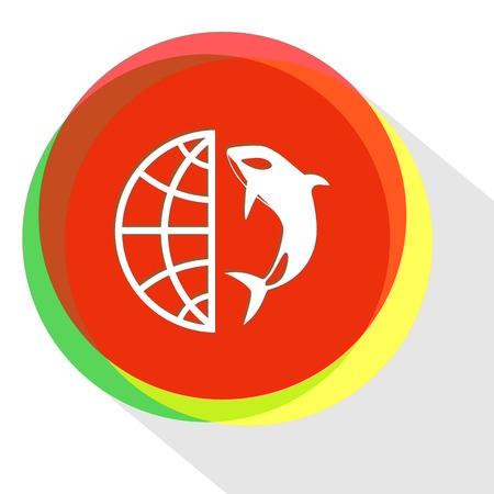 globe and shamoo. Internet template. Vector icon.