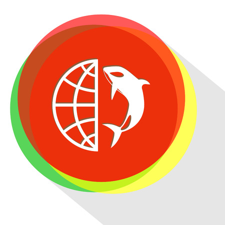 globe and shamoo. Internet template. Vector icon.