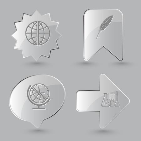meridiano: 4 imágenes: Globo, pluma, el globo y el reloj, tubos de ensayo químico. conjunto de la educación. botones de cristal sobre fondo gris. Los iconos del vector. Vectores