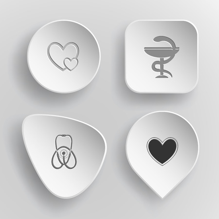 pharma: 4 images: careful heart, pharma symbol, stethoscope, heart. Medical set. White concave buttons on gray background. Vector icons.