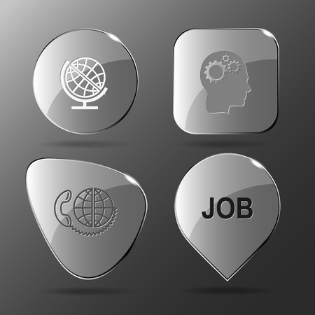 job icon: 4 images: globe, human brain, global communication, job. Business set. Glass buttons. Vector illustration icon. Illustration