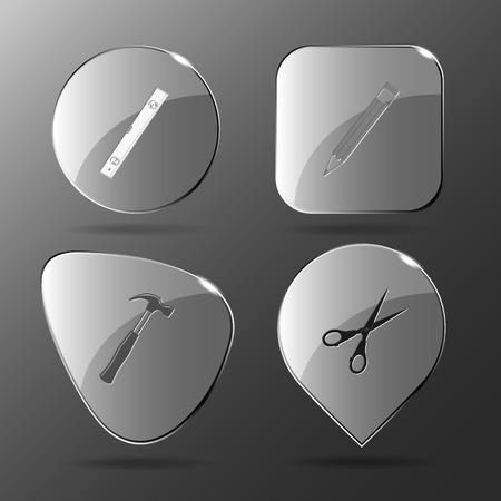 spirit level: 4 images: spirit level, pencil, hammer, scissors. Angularly set. Glass buttons. Vector illustration icon. Illustration