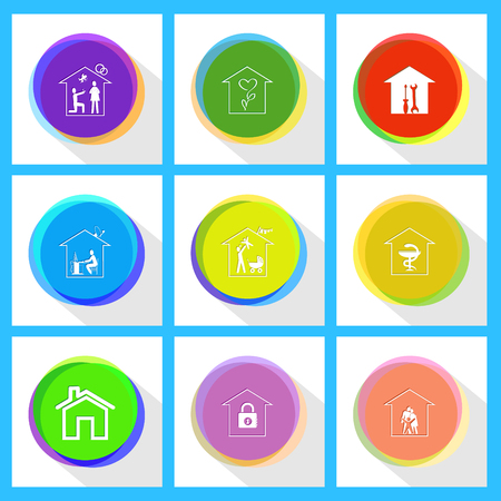 affiance: workshop, flower shop, home affiance, pharmacy, family home, home work, bank. Home set. Internet template. Vector icons.