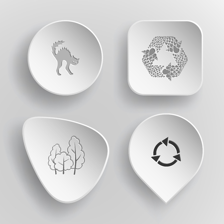 concave: 4 images: cat, recycle symbol, trees. Nature set. White concave buttons on gray background. Vector icons.