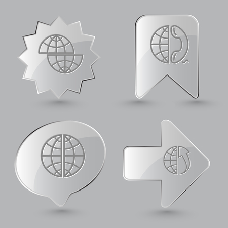 meridian: 4 images: shift globe, globe and phone, globe, globe and array up. Globe set. Glass buttons on gray background. Vector icons. Illustration