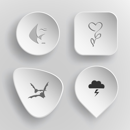 concave: 4 images: fish, flower, bats, thunderstorm. Nature set. White concave buttons on gray background. Vector icons.