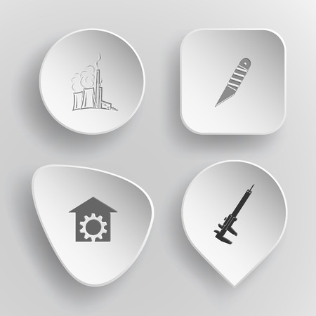 concave: 4 images: thermal power engineering, knife, repair shop, caliper. Industrial tools set. White concave buttons on gray background. Vector icons. Illustration