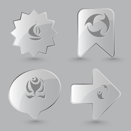 skydiver: 4 images: ship, recycle symbol, rose, skydiver. Abstract set. Glass buttons on gray background. Vector icons.