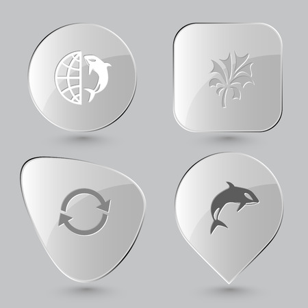 gray whale: globe and shamoo, plant, recycle symbol, killer whale. Nature set. Glass buttons on gray background. Vector icons.