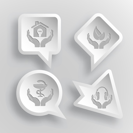 pharma: 4 images: economy in hands, life in hands, pharma symbol in hands, headphones in hands. In hands set. Paper stickers. Vector illustration icons.