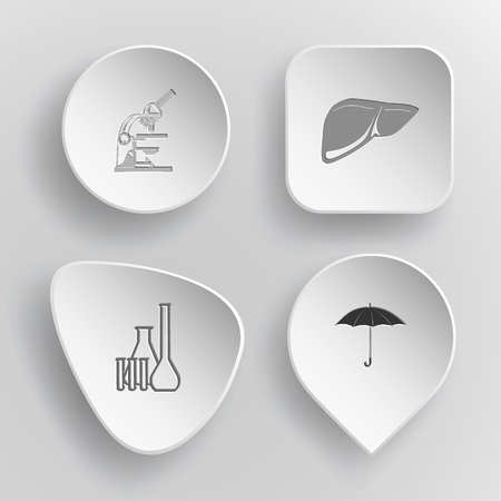 concave: 4 images: lab microscope, liver, chemical test tubes, umbrella. Medical set. White concave buttons on gray background. Vector icons.