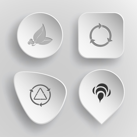 concave: 4 images: leaf with berries, recycle symbol, bee. Nature set. White concave buttons on gray background. Vector icons. Illustration