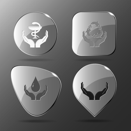pharma: 4 images: pharma symbol in hands, protection sea life, protection blood, human hands. In hands set. Glass buttons. Vector illustration icon.