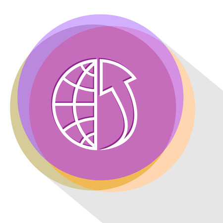 array: globe and array up. Internet template. Vector icon. Illustration
