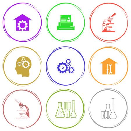 screw key: repair shop, printer, lab microscope, human brain, gears, workshop, chemical test tubes. Tehnology set. Internet button. Vector icons. Illustration