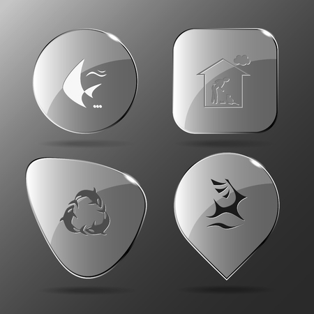 killer waves: 4 images: fish, home cat, killer whale as recycling symbol, deer. Animal set. Glass buttons. Vector illustration icon.