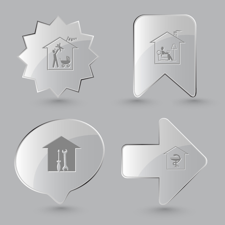 screw key: 4 images: family home, home reading, workshop, pharmacy. Home set. Glass buttons on gray background. Vector icons.
