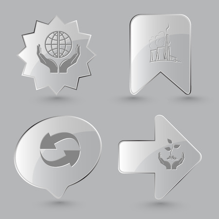 thermal power plant: 4 images: protection world, thermal power engineering, recycle symbol, plant in hands. Ecology set. Glass buttons on gray background. Vector icons.