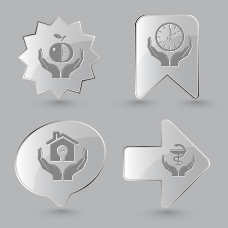 pharma: 4 images: apple in hands, clock in hands, economy in hands, pharma symbol in hands. In hands set. Glass buttons on gray background. Vector icons. Illustration