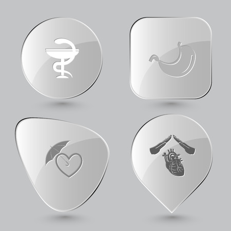 belly button: pharma symbol, stomach, protection love, heart protect. Medical set. Glass buttons on gray background. Vector icons.
