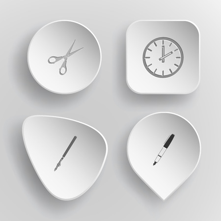 pen and ink: 4 images: scissors, clock, ruling pen, ink pen. Education set. White concave buttons on gray background.