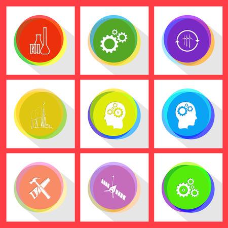 tehnology: chemical test tubes, gears, wind turbine, thermal power engineering, human brain, hand saw and hammer, spaceship. Tehnology set. Internet template.