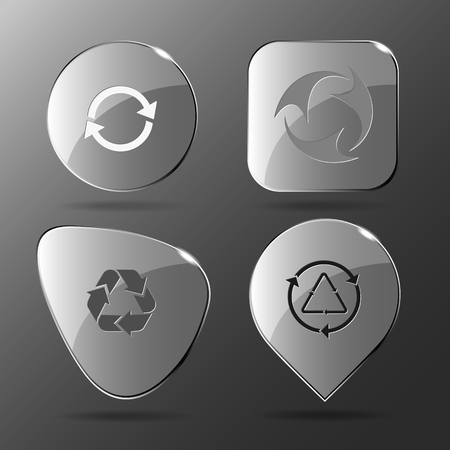 wildlife conservation: 4 images: recycle symbol, recycle symbol. Recycle symbols set. Glass buttons.