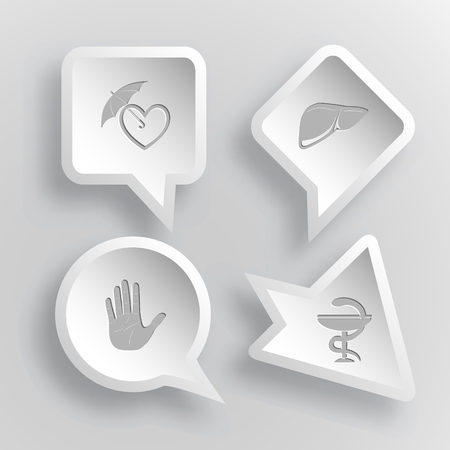 4 images: protection love, liver, stop hand, pharma symbol. Medical set. Paper stickers.